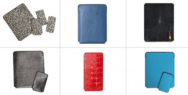 85 € for a Smartphone cover (in lambskin or grained leather) 90 € for a calfskin case Between 145 € and 190 € for tablet cases Customization with initials in fine gold: 25 € more.