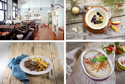 Photo 1: Inside the boutique/restaurant, 2, 3 and 4: Typical dishes © Feinkoch