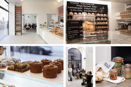 Photos 1, 2 and 4: Inside the concept store, 3 and 5: Pastries and store products ©Joseph Bakerei
