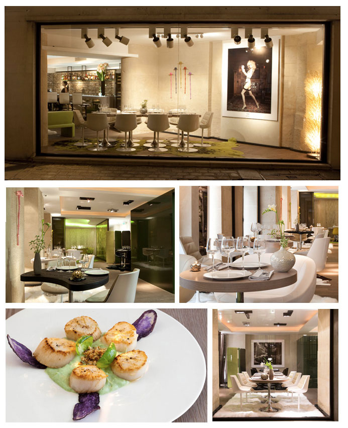From top to bottom and left to right: Photo 1: Exterior of the Restaurant, 2, 3 : Interior of the restaurant, 4: Dish © Gabrielle Sorel and 5: Exterior view of the restaurant © Patrick Curtet