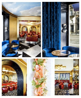 From top to bottom and left to right, Photos 1,2,3, 5: Interior of the restaurant and 4: Dish © Matthieu Salvaing