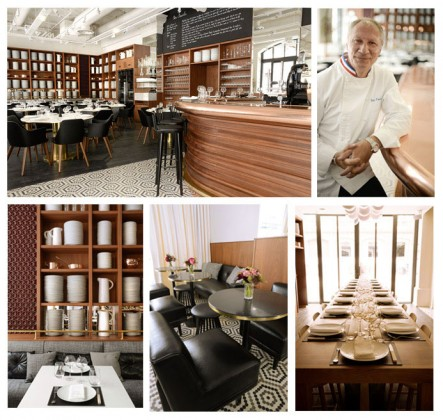 From top to bottom and left to right, Photos 1, 3, 4 ans 5: Interior of the restaurant, 2: Portrait of the star chef Eric Frechon © Lazare