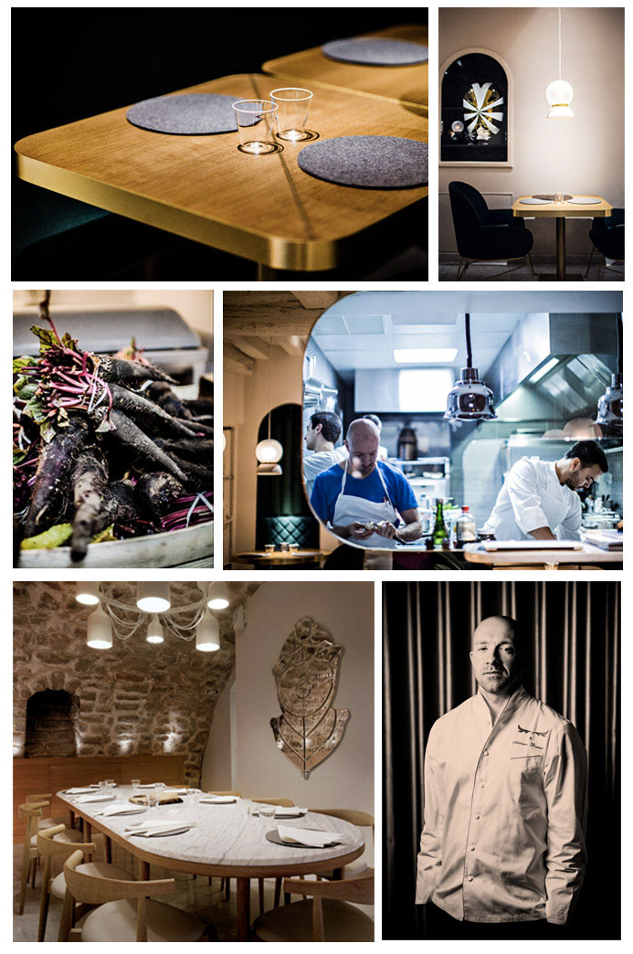 From top to bottom and left to right: Photos 1,2 and 5: Interior of the restaurant © Benoist Linero and © Klunderbie, 3: Dish and Kitchen © Benoist Linero, 6: Portrait of the chef Antonin Bonnet © Benoist Linero
