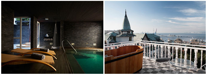Photo 1: Spa, 2: Suite avec terrace et vue / © Palacio Astoreca