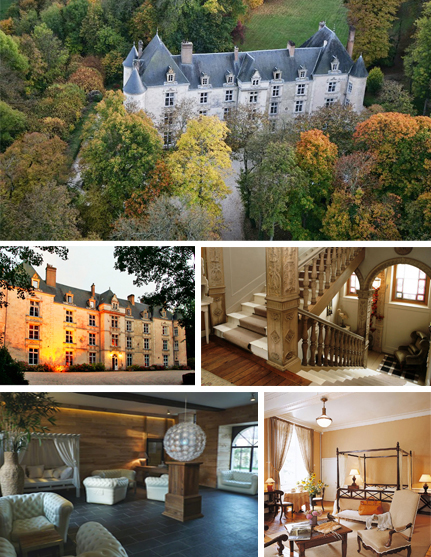 Photos 1 and 2: Outside view of the domaine , 3: Stairs, 4: Spa, 5: Inside one of the rooms ©Domaine de Villeray