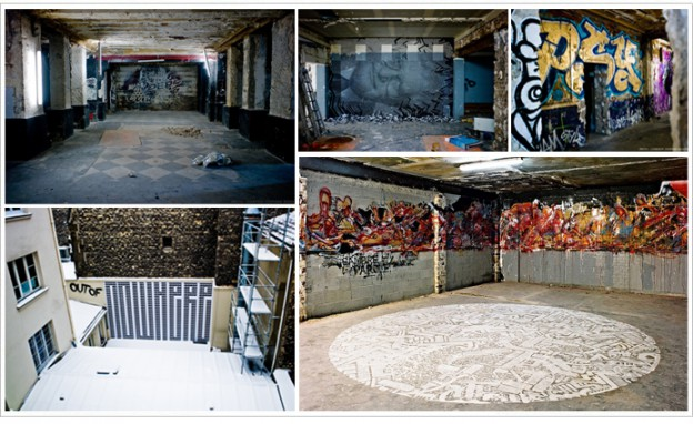 De haut en bas et de gauche à droite : 1-VHILS, Photo Stéphane Bisseuil, Courtesy Magda Danysz Gallery / 2-STEN LEX, Photo Stéphane Bisseuil, Courtesy Magda Danysz Gallery / 3-Psy , Photo Stéphane Bisseuil, Courtesy Magda Danysz Gallery / 4-L'Atlas, Photo Stéphane Bisseuil, Courtesy Magda Danysz Gallery / 5- Sowat, Photo Stéphane Bisseuil, Courtesy Magda Danysz Gallery
