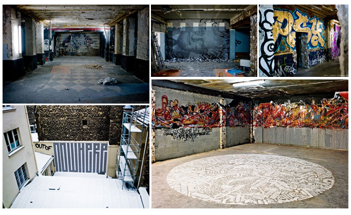From top to bottom and left to right. : 1-VHILS, photo by Stéphane Bisseuil-Courtesy Magda Danysz Gallery / 2-STEN LEX, photo by Stéphane Bisseuil- Courtesy Magda Danysz Gallery / 3-Psy, photo by Stéphane Bisseuil-Courtesy Magda Danysz Gallery / 4-L'Atlas, photo by Stéphane Bisseuil-Courtesy Magda Danysz Gallery / 5-Sowat, photo by Jerome Coton-Courtesy Magda Danysz Gallery