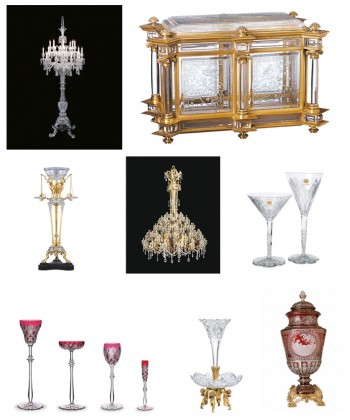 From left to right and top to bottom: Photo 1: Candelabra & De La Tsarine& from1867, 2 : Liquor cellar from1878, 3: Pompeian Lamp Torchere from 1909, 4: Chandelier Grand Marly from 1891, 5: Elbeuf Service for the Maharaja of Baroda from 1920, 6: Service Tsar from 1909, 7: & Muet & Servant from 1902 and 8: Vase Simon Allegory of Earth from 1867