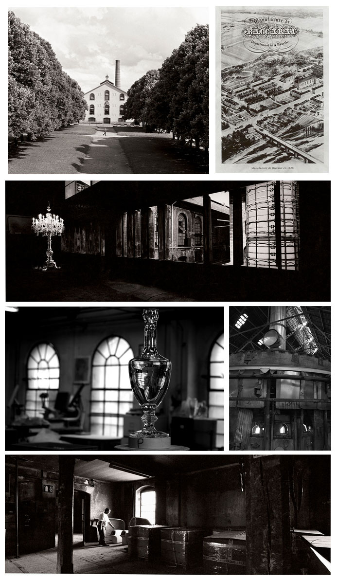 From left to right and top to bottom: Photo 1: Manufacture Baccarat ©Thierry Bouet, 2: Engraving of the Manufacture Baccarat, 3 : Candelabra ©Jean Lariviere, 4: Interior of the Manufacture ©Lucie Loret, 5 : Foura Pot Colors ©Lucie Loret and 6: Workshop of Molding ©Jean Lariviere