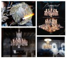 "From left to right and top to bottom: Photo 1: Harcourt Ice for the exhibition ""Glassworks' of Nendo Solo at the Dilmos Gallery, 2: Baccarat book written by Laurence Benaïm and Murray Moss by Rizzoli NY Editions, 3: Chandelier Fusion by Fernondon and Humberto Campana,4: Chandelier Nervous Zenith by Starck"