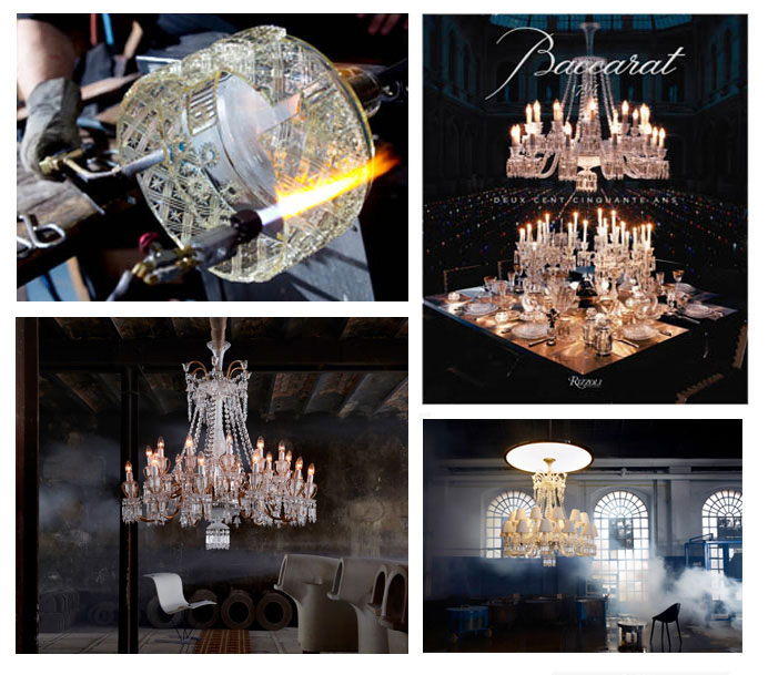 """From left to right and top to bottom: Photo 1: Harcourt Ice for the exhibition """"Glassworks' of Nendo Solo at the Dilmos Gallery, 2: Baccarat book written by Laurence Benaïm and Murray Moss by Rizzoli NY Editions, 3: Chandelier Fusion by Fernondon and Humberto Campana,4: Chandelier Nervous Zenith by Starck"""