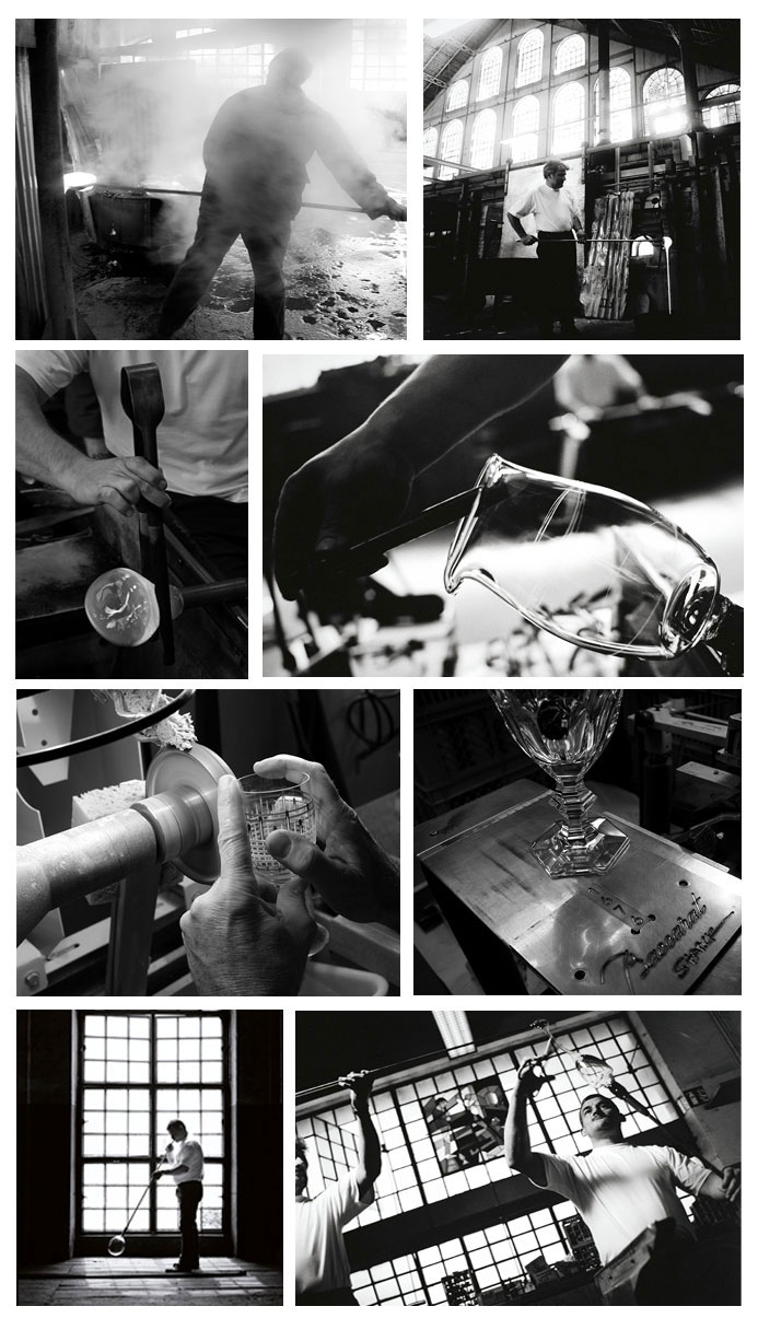 From left to right and top to bottom: Photo 1: Manufacture ©Lucie Loret, 2: Manufacturing detail ©Jean Lariviere, 3:Manufacturing detail ©Lucie Loret, 4: Detail Manufacturing ©Jean Lariviere, 5: The shaping ©Lucie Loret, 6 Harcourt Dark side by Starck ©Lucie Loret, 7 and 8: Blower ©Jean Lariviere