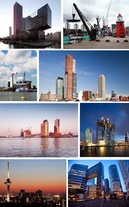 From top to bottom and left to right: View and skyline of Rotterdam's port. Photo 1 © Ossip van Duivenbode, 2, 4, 5 6, 7 © Ludovic Bischoff , 3 © Marc Heeman and 8 © Claire Droppert