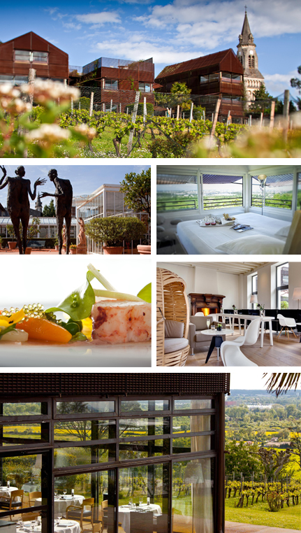 From left to right and top to bottom, Photos 1 and 2 : Vineyard and exterior of the hotel, 3: Rooms , 4, 5 and 6 : Restaurant and view from the restaurant