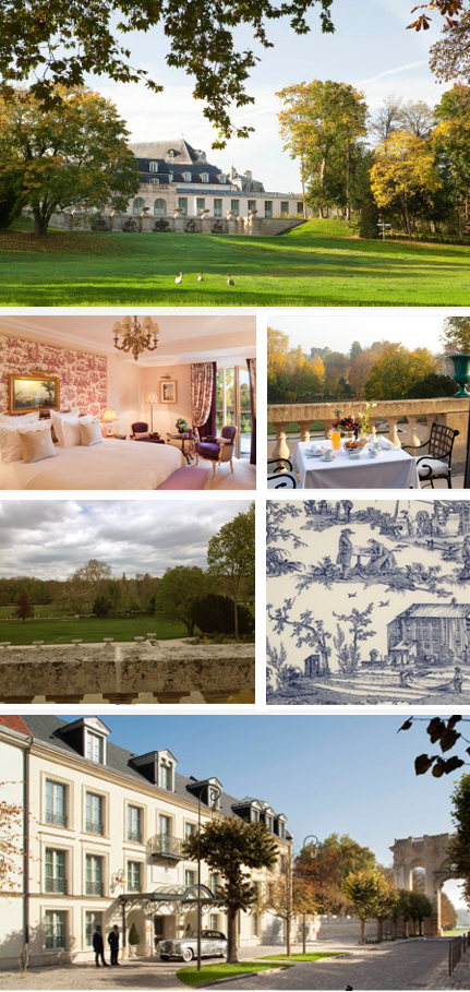 From left to right and top to bottom, Photo 1: Front of Chateau de Chantilly ©Auberge du Jeu de Paume, 2 and 3 bedroom © Auberge du Jeu de Paume, 4: View from the room terrace ©Plume , 5: Tapestry ©Plume and 6: Front of the Inn © Auberge du Jeu de Paume