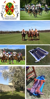 From left to right and top to bottom: Photo 1: Logo of the Club, 2 et 4: Polo Club Players ©Antoine Delaporte, 3: Polo Club Players, 5 et 7 Polo equipment, 6: Poney Club Garden©Plume