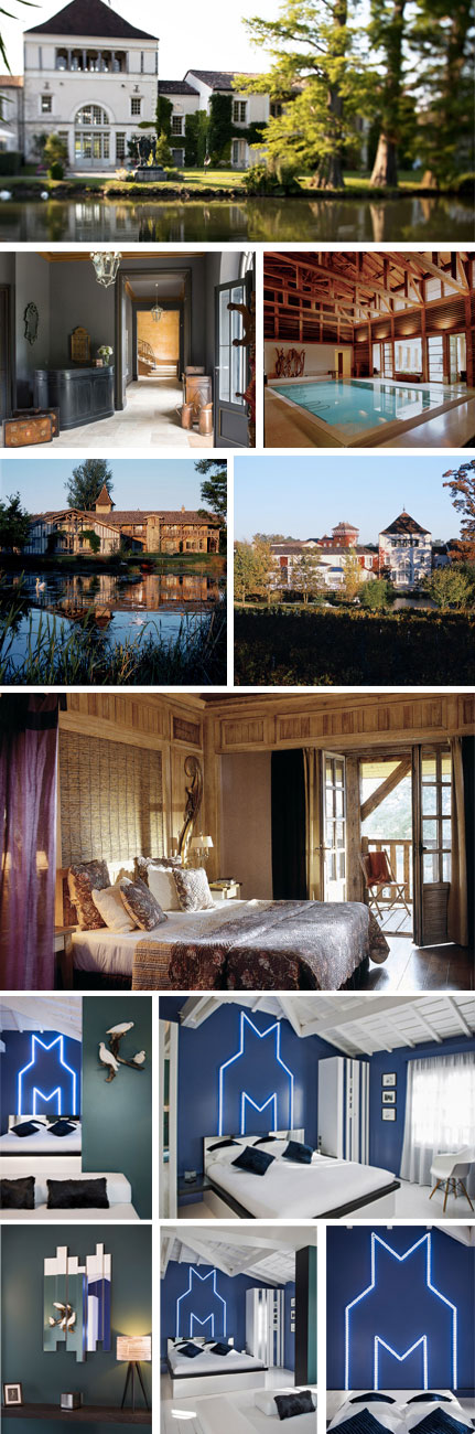 "From left to right and top to bottom, Photo 1, 4 and 5: The Caudalie Sources , 2 : Entrance ""Chartreuse"" of the Thil Caslte , 3: Thermal Bath and 6: Suite ""Le vent du Large"" / Room on ""L'Ile aux Oiseaux"" by Maxime Simoens,"