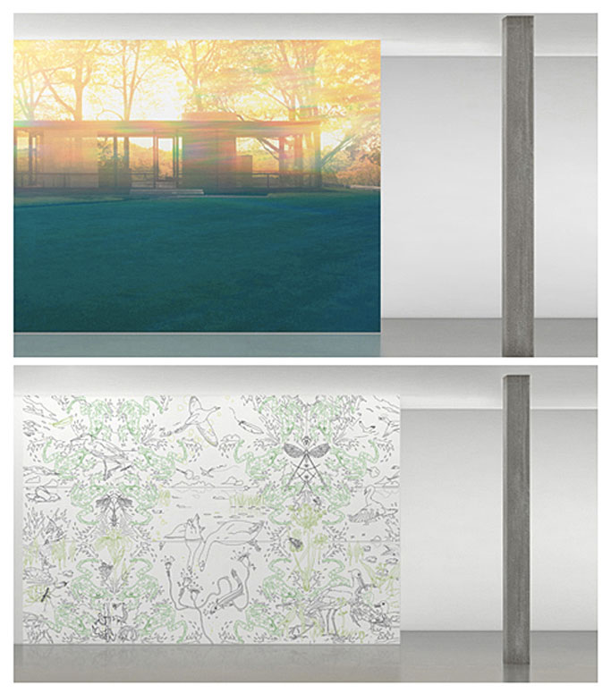 "Photo1- Papier peint ""Glass House May, 2008"" Photo2- Papier peint ""Cuckoo"". Les 2 par Maharam Digital Projects"