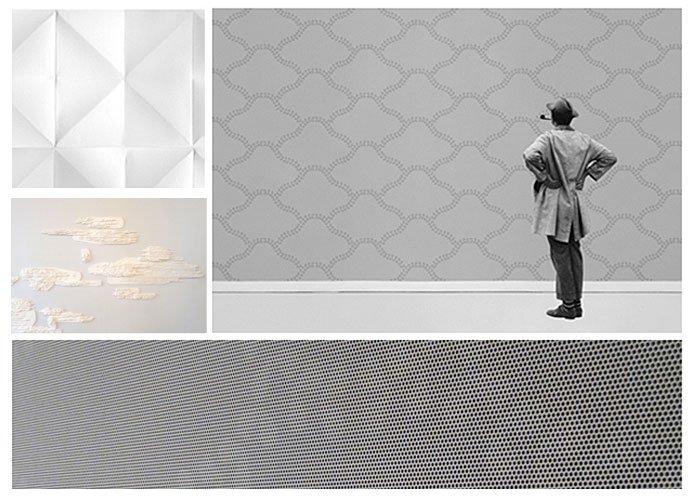 "Photo1- Wallpaper by Les Graphiquants for Domestic. WallpaperLab 2014 Photo2- Wallpaper ""Mirage"" by Ionna Vautrin for Domestic. Wallpaperlab 2014 Photo3 - Detail of wallpaper ""Blanc sur Blanc"" by Benjamin Graindore. Photo4 - Detail of wallpaper ""Mirage"" by Ionna Vautrin for Domestic."