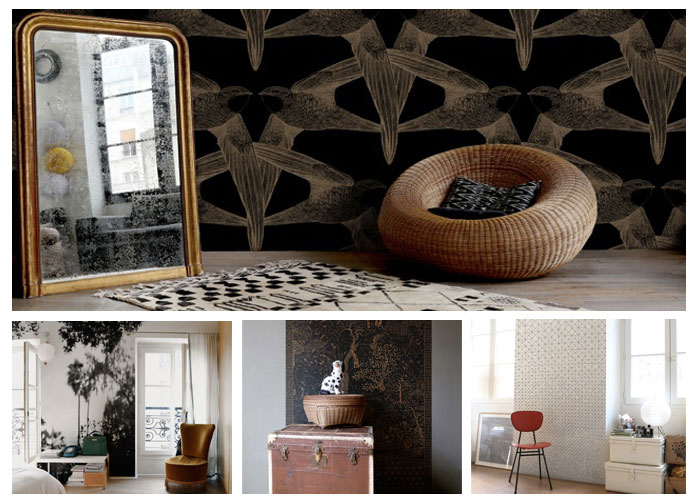"Photo1- Wallpaper ""Birds Black"". Photo2- Wallpaper ""Palermo"" . Photo by Marie Photo3- Wallpaper ""Cormandel"" Photo4- Wallpaper ""Modular"". Photo by Marie. The 4 by Minakani Lab"